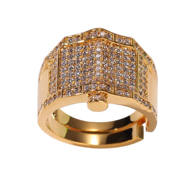 Hip Hop Full AAA Zircon Paved Bling Iced Out CZ Ring Gold Silver Geometric Rings Men Women Fashion Jewelry Drop Shipping