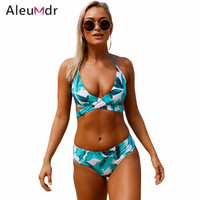 Aleumdr Sexy Bikini Women 2018 Lace Up Swimwear Swimsuit Tropical Print Halter Bikini Set Bathing Suit