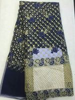 5 Yards Pc Fashionable Dark Blue French Net Lace Fabric With Rhinestone African Gold Mesh Cord