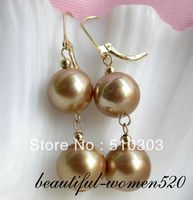 12mm Round Champagne South Sea Shell Pearl Earrings 14k