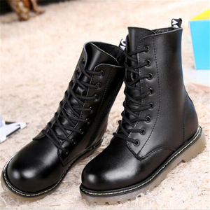 Image 5 - Autumn Children Mid Calf Motorcycle boots Genuine Leather Winter Girl Boy Snow boots Slip resistant Military boots Kids shoes 3B