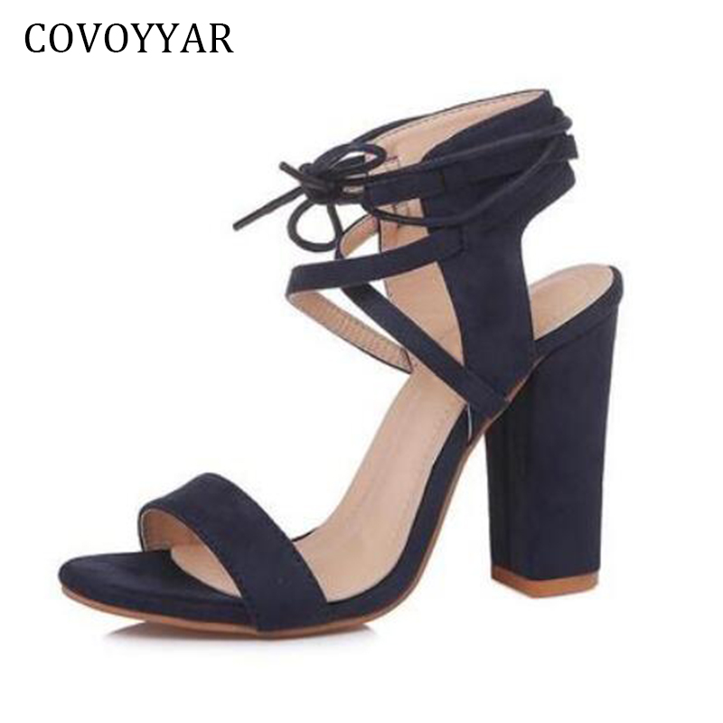COVOYYAR 2018 Cross Tied Women High Heels Pumps Chunky Heel Ankle Strap Sandals Women Open Toe Flock Shoes Big Sizes WHH586 abnormal ankle strap folk multi colored catwalk colourful sandal round toe chunky peep pumps pom high quality designer shoe heel