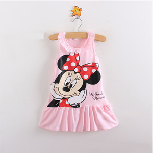 Лидер продаж, новая модная детская одежда для девочек, милое платье с героями мультфильмов, 2 вида цветов, красная, розовая одежда, милое платье для маленьких девочек