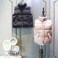 Desgaste Han edição das crianças as novas meninas inverno 2016 meninas pura cor de pão terno colete gola de algodão casaco mais frete grátis