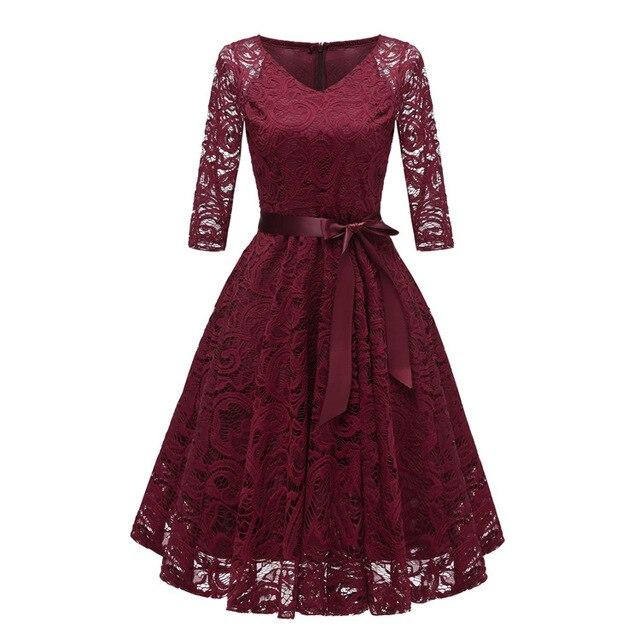 2018 Autumn Lace Dresses Femme 3/4 Sleeve V-Neck Women Red Dress Hollow Out Female Robes Plus Size 2XL Vestidos de Festa 5