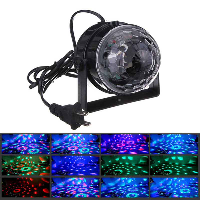 IR Remote RGB LED Crystal Magic Rotating Ball Stage Light Colorful ktv DJ light disco light Party Effect Light EU/US/UK plug