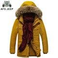 AFS JEEP Inverno Parka Homens Jaqueta de Inverno da Marca Dos Homens De Alta Qualidade Engrossar Casaco Quente Famoso Algodão-Acolchoado De Peles De Moda Parkas colarinho