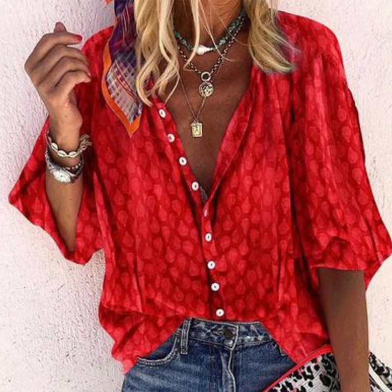 Women's V-Neck Midi Sleeve Print Floral Blouse Solid Button Loose Femmes Tops 2020 Lady Casual Vintage Blouses Top Clothes
