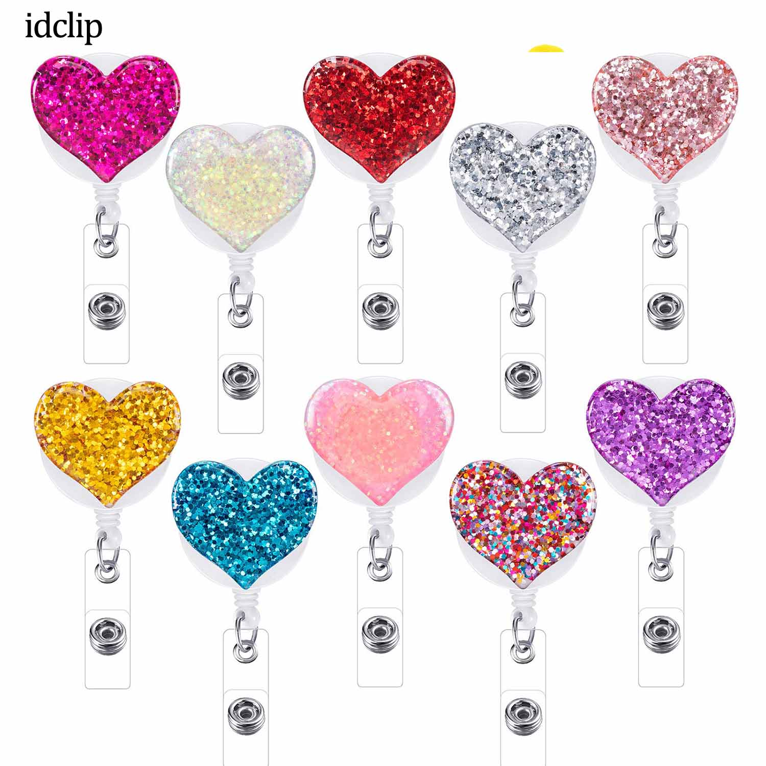 Idclip 10 Pcs Bling Love Heart Retractable Badge Holder Badge Clips For Nurse ID Badge Reel With Alligator Clip