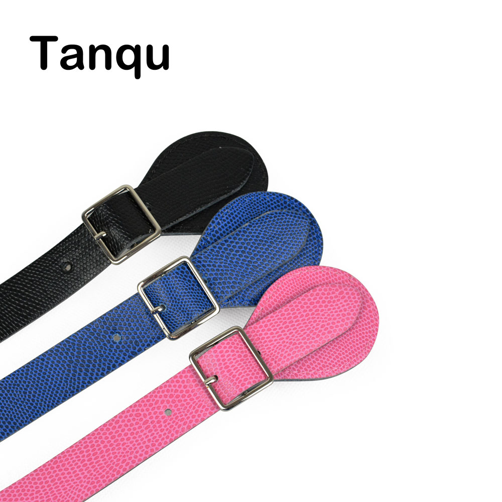 TANQU New Long Short faux Lizard Patten Flat Handles for Obag Adjustable Leather Handle with Drop Buckle for O Bag tanqu new lacquer short long extra slim interchangeable teardrop handles faux leather handles for obag for eva o bag body