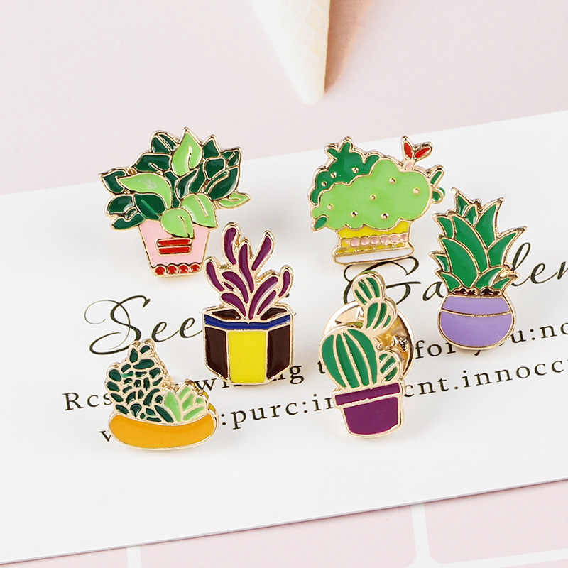 Kreative Cartoon Topfpflanze Emaille Pins und Broschen für Frauen Unisex Aloe Kaktus Brosche Schmuck Abzeichen Rucksack Hut Denim Pin