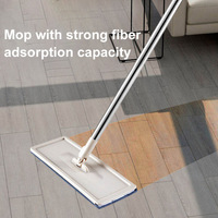 Mop Bucket System for Floor Cleaning 2 in 1 Wash Dry with Washable Flat Fiber Mop Pads HY99