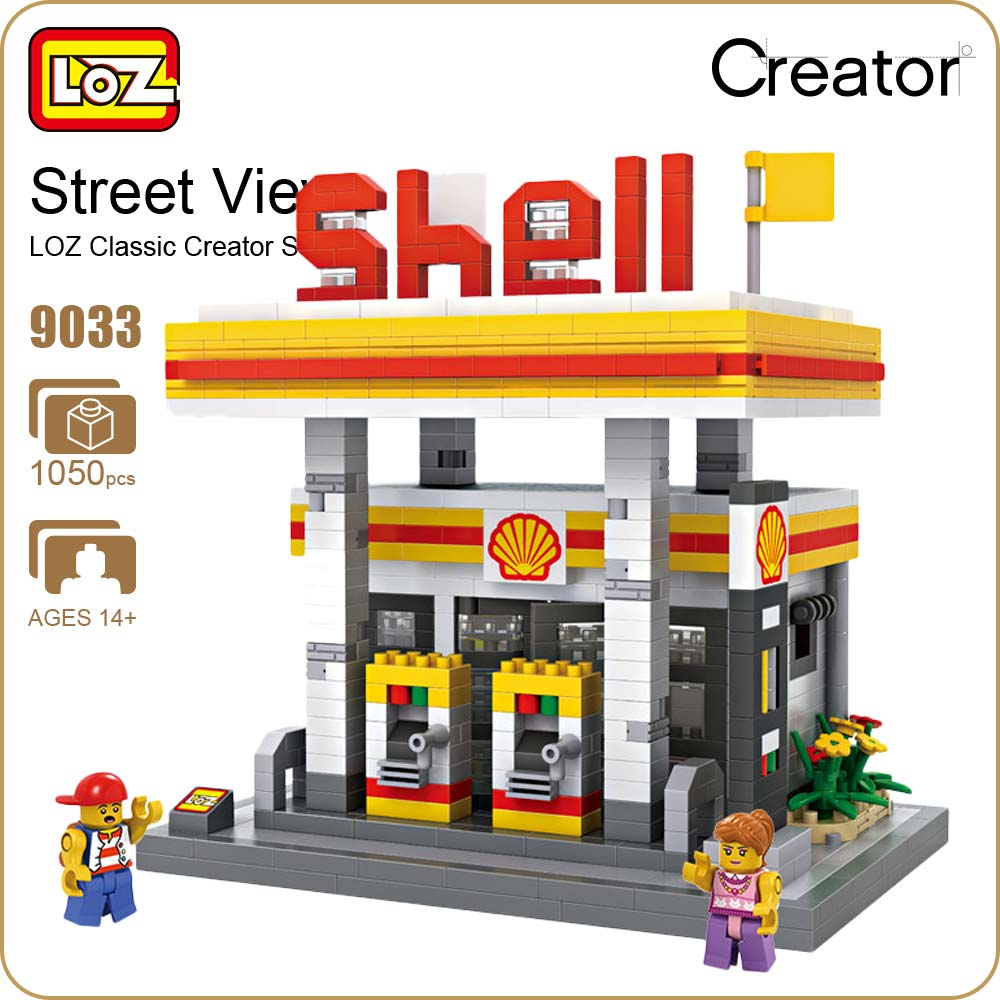 LOZ Blocks Diamond Bricks GAS Station Mini Street View Model Plastic Building Blocks Assembly Toy Mini Nano Architecture 9033 loz street view architecture building brick 303pcs