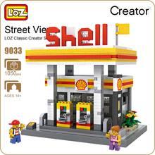LOZ Blocks Diamond Bricks GAS Station Mini Street View Model Plastic Building Blocks Assembly Toy Mini Nano Architecture 9033