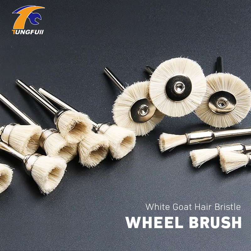 Tungfull Tool 15Pcs White Goat Hair Bristle Wheel Brush Fit Dremel Style Accessories Power Tool Accessories Polishing Cleaning