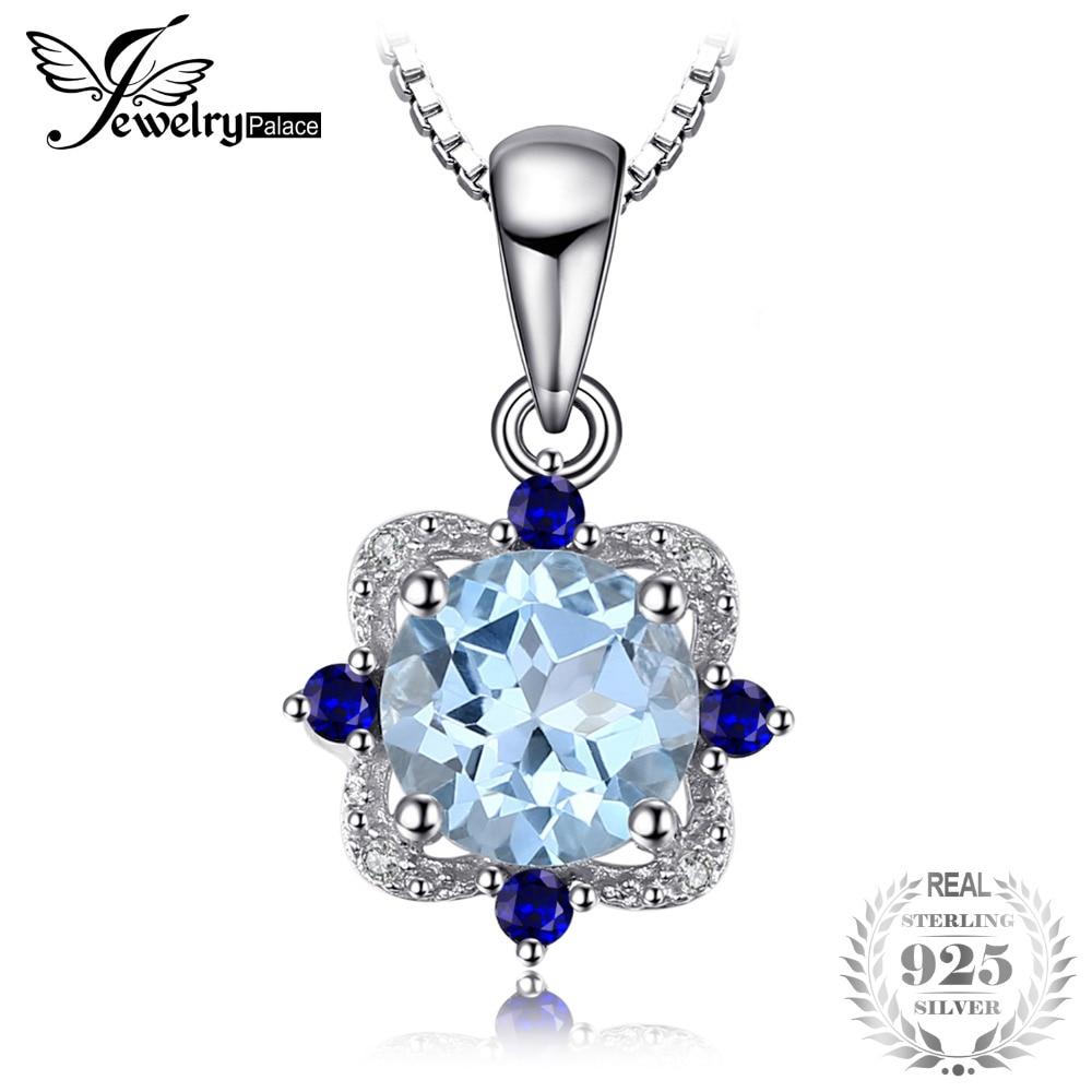 JewelryPalace Vintage 1.8ct Runde Natürliche Sky Blue Topaz Anhänger Für Frauen 925 Sterling Silber Edlen Schmuck Nicht Eine Kette