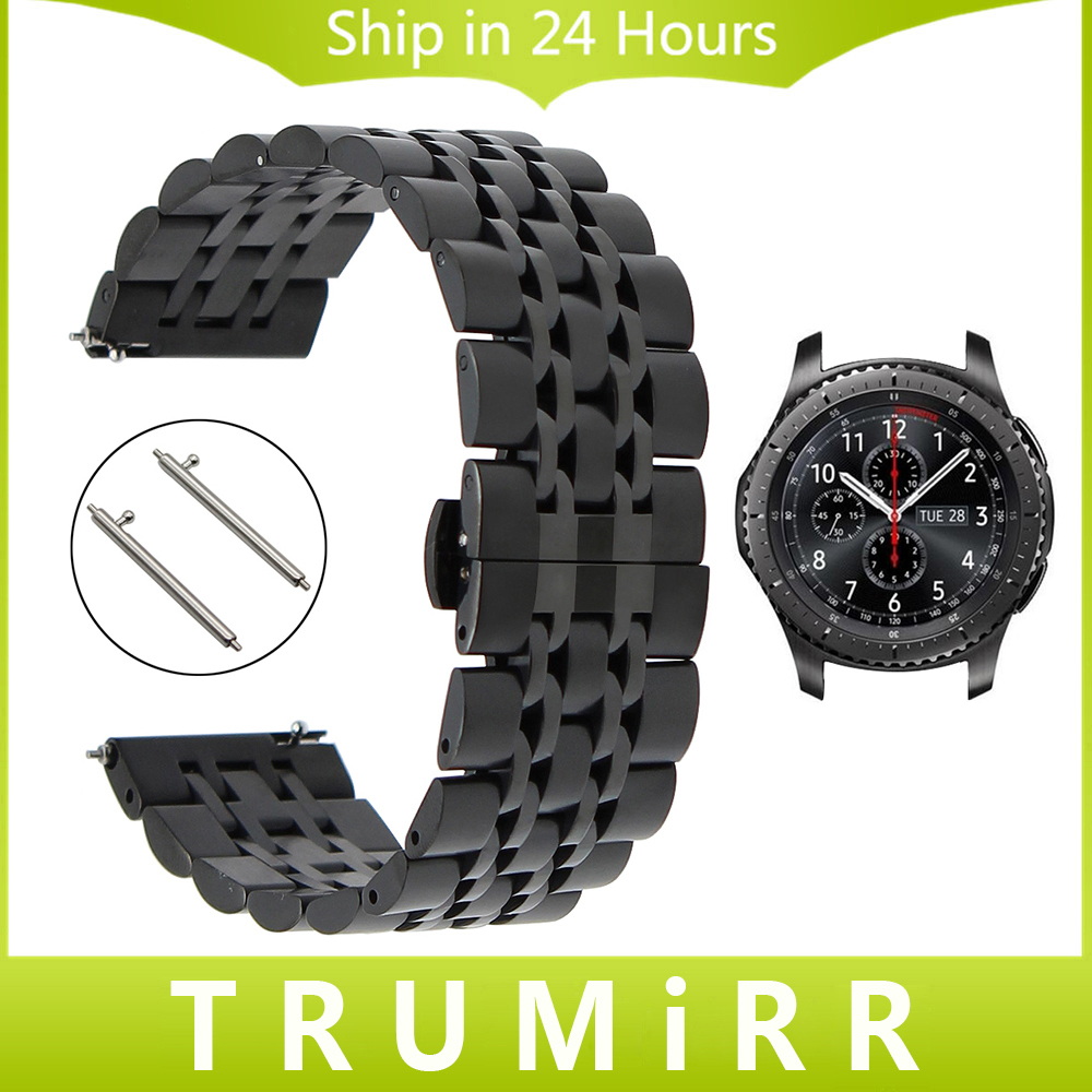 Prix pour 22mm Bracelet En Acier Inoxydable + Goupilles de Dégagement Rapide pour Samsung Gear S3 Classique Frontière Montre Bracelet Bande Lien Bracelet