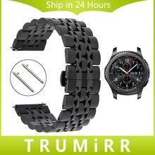 22mm Correa de Acero Inoxidable + Pernos de Liberación Rápida para Samsung S3 de Engranajes Classic Frontera Correa de Reloj Pulsera Enlace pulsera