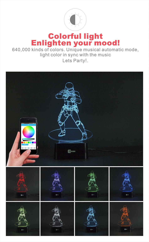 CNHIDEE USB Novelty Star Wars Bluetooth Music Desk Lampara 3D Stormtrooper Bulbing Led Luz de Noche Engraving Night Light Decor as Creative Gifs  (2)