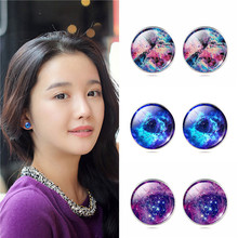 New Design Vintage Galaxy Earring Silver Plated French Lever Glass Cabochon Statement Nebula Earrings Pendientes Jewelry Gift