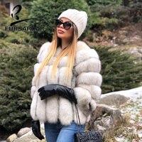 FURSARCAR 2018 Fashion Genuine Leather Natural Fox Fur Coat For Women O Neck 55 CM Short Female Fox Fur Jacket