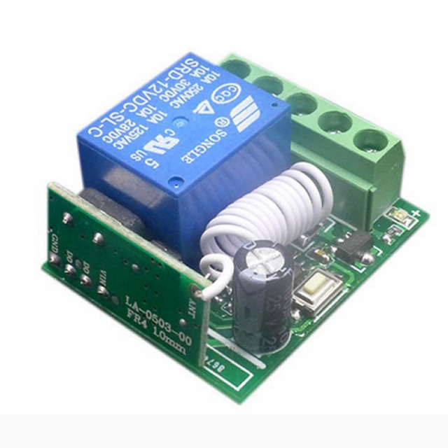 10A 1 Channel 433HZ Remote Control Receiver RF Wireless Relay Switch DC12V For DIY Integrated Circuits Part MAYITR