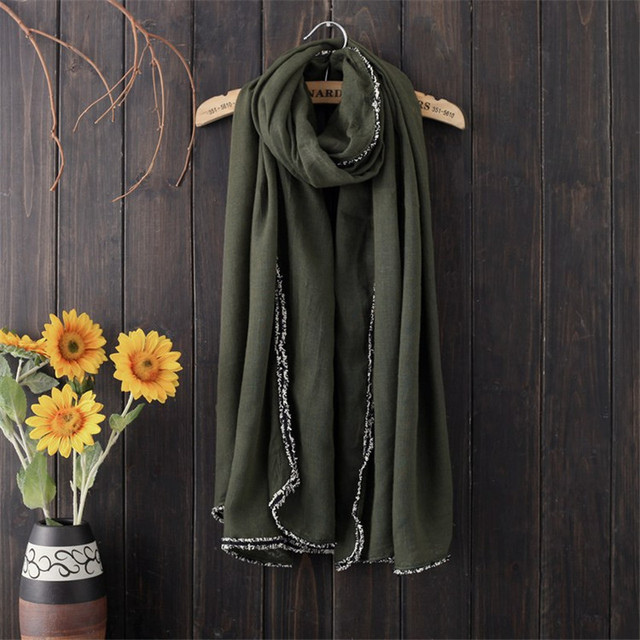 1PC Plain Fur Border Scarf...