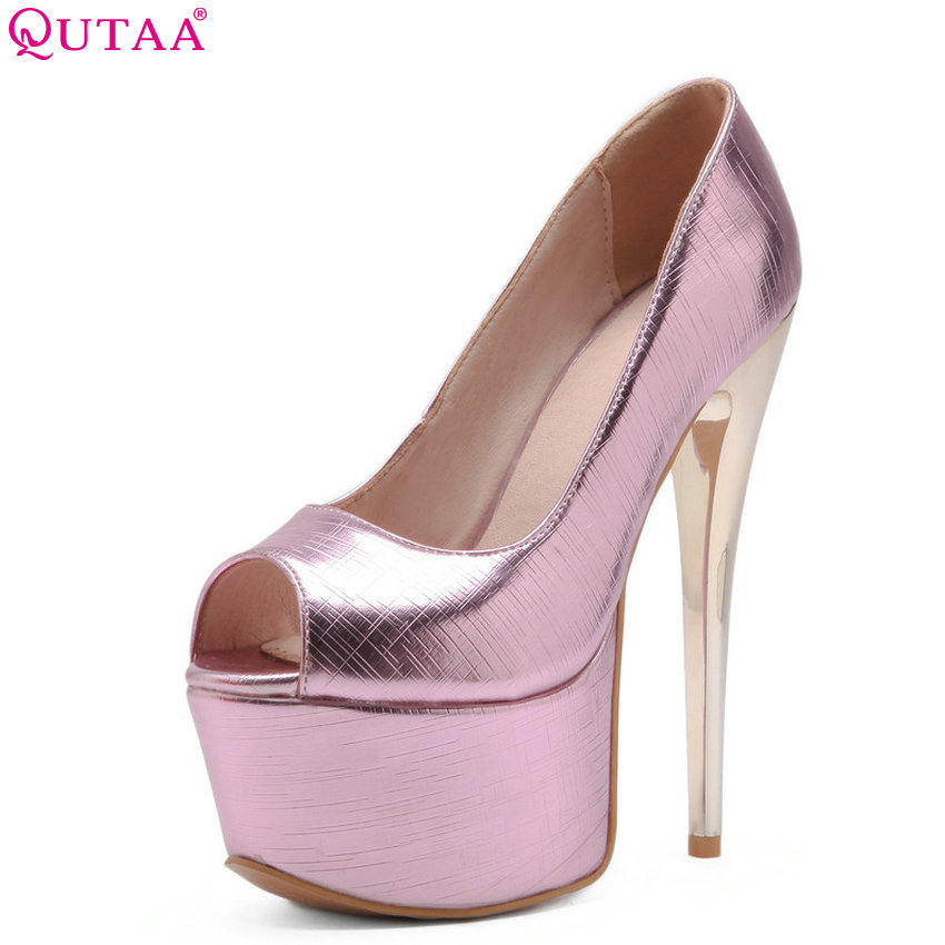 QUTAA 2018 Women Pumps Thin High Heel Pu Leather Fashion Women Shoes Platform Peep Toe Slip on Ladies Wedding Pumps Size 34-43 meotina women wedding shoes 2018 spring platform high heels shoes pumps peep toe bow white slip on sexy shoes ladies size 34 43