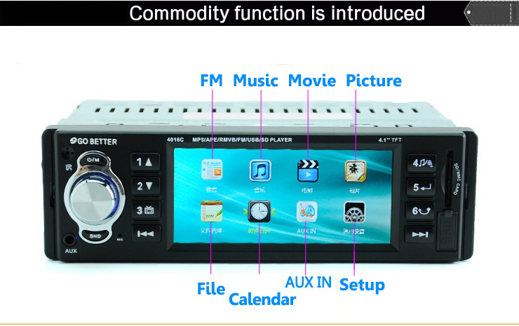 4.1 inch TFT Car Audio MP5 palyer Compatible with MP5 RMR MVB with FM radio audio video Supports MMCcard, USB