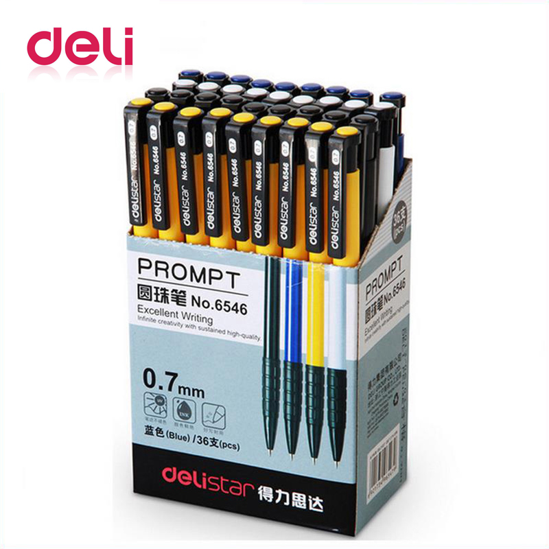 Deli 1pcs Ballpoint Pen Student Stationery 0.7mm Pressed Ballpoint Pen 4 Color Plastic Ball Pen School & Office Supplies