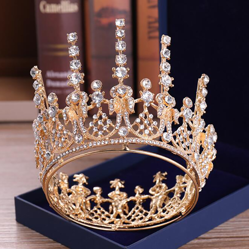 Fashionable Contracted Irregular Whole Circle Adds Tall Crystal Crown Hair Accessories For Women Princess Brides Tiara