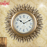 Tuda 18 Inches Sun Shaped Resin Wall Clock New Classical Style Watch Mute Quartz Clock Home Decor Hanging Clock Free shipping