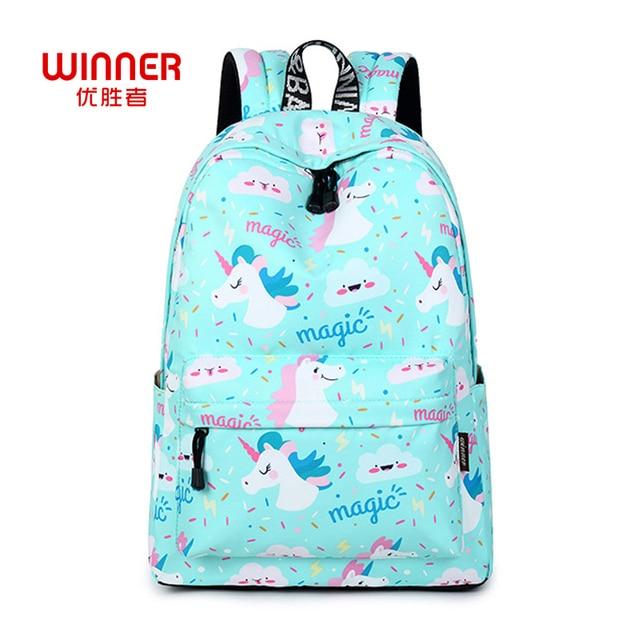 7260dd5dd8b2 Победитель Для женщин рюкзак Единорог милые школьные печати рюкзак книжный рюкзак  школьный сумки для девочек подростков