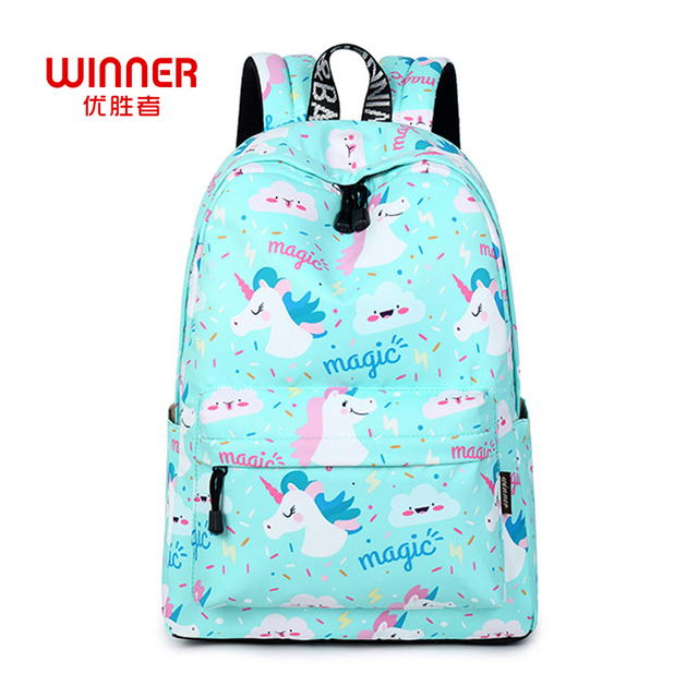 3cd9bc46e8a0 WINNER Women Backpack Unicorn Cute School Printing Backpack Bookbag School  Bags For Teenage Girls Mochila Travel Softback