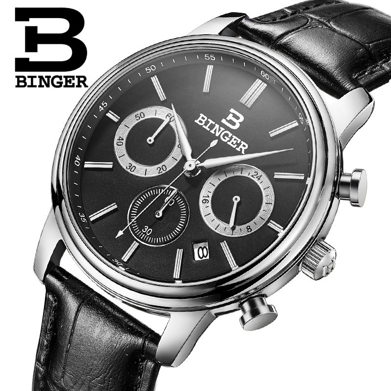 Switzerland Men Watches BINGER Luxury Brand Watch Men Chronograph Wrist Watch Male Quartz waterproof relogio Sport clock B9005-1
