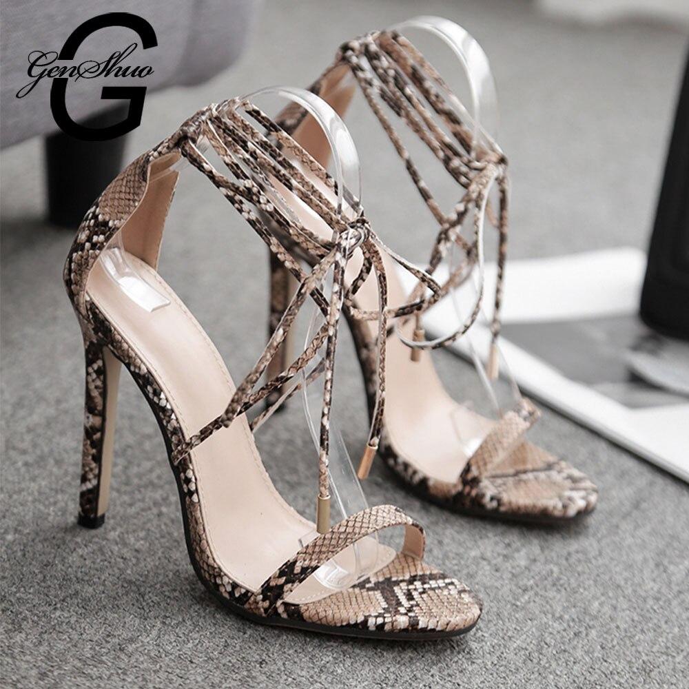 Image 3 - GENSHUO 2019 Summer Fashion Snake skin Ankle Strap Women Sandals Cross tied Super High Stiletto Heels Lady Pumps Sandals ShoesHigh Heels   -