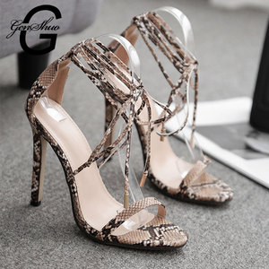 Image 3 - GENSHUO 2020 Summer Fashion Snake skin Ankle Strap Women Sandals Cross tied Super High Stiletto Heels Lady Pumps Sandals Shoes