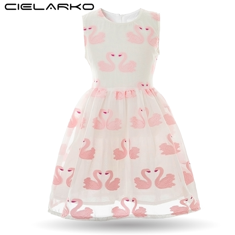 Cielarko Girls Dress Pink Swan Embroidery Baby Dresses Princess Children Party Frocks Fancy Kids Wedding Clothing for Girl pink swan 100