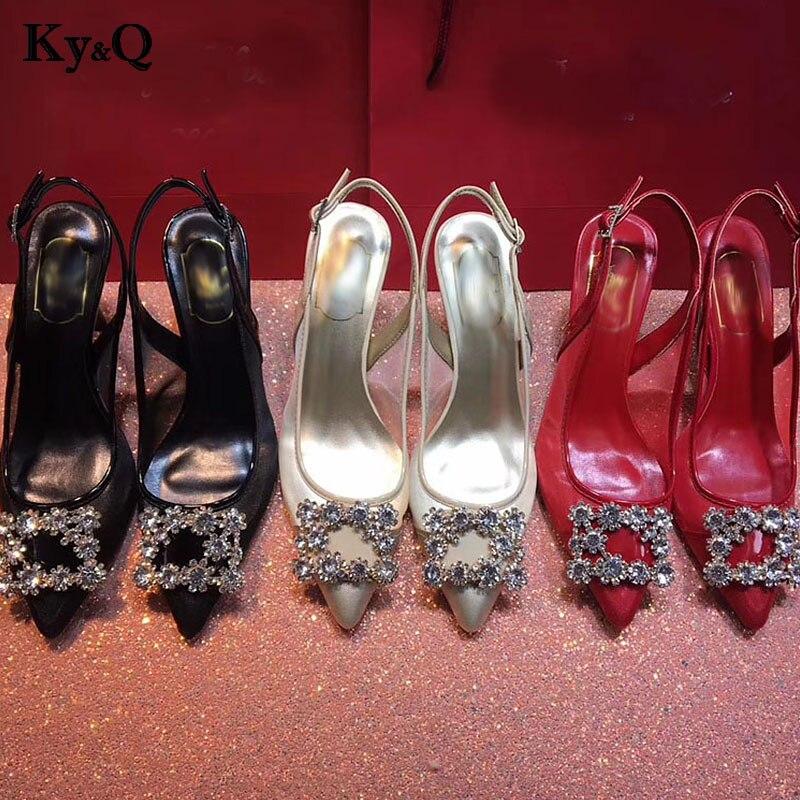 Brands Rhinestone Square Buckle Pointed Toe Shoes 2018 New Solid Flock Shallow Women Pumps Fashion Women's High Heels 6cm Shoes недорго, оригинальная цена