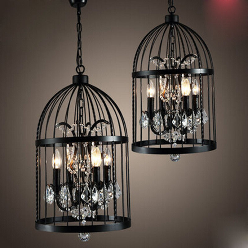 American Vintage Style Loft Retro Iron Crystal Cage LED Hanging Lamp Birdcage Pendant Lamp Industrial Bar Restaurant Lighting vintage birdcage crystal chandelier lighting black rustic bird cage pendant hanging light chandeliers lamp for dining room bar