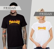 Funny TShirts Men Fire with Trasher Homme Skateboard T-shirt Men Hip Hop T Shirts in Short Sleeve Cotton Tees Couples