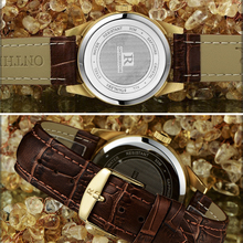 Mens Business Wristwatch With Calendar And Leather Strap