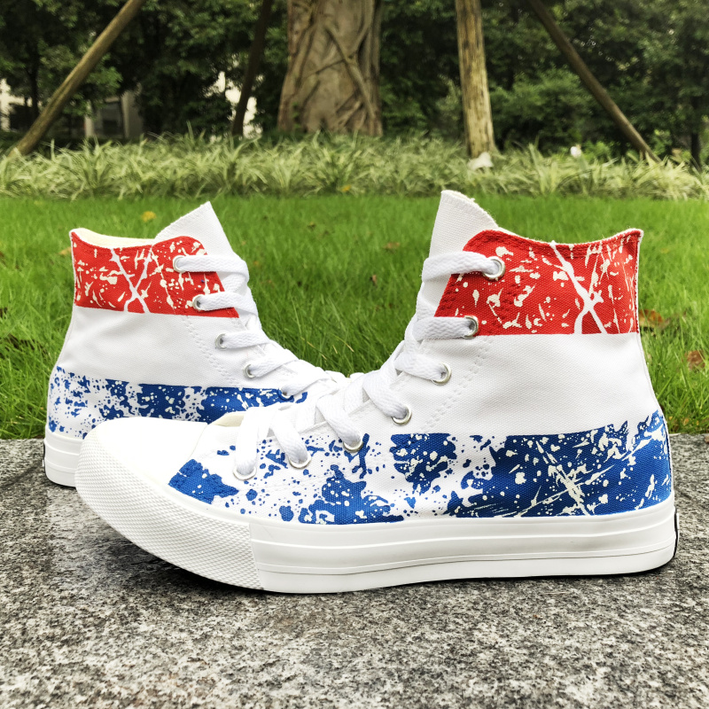 a58991f6d64 US $52.44 24% OFF|Wen Canvas Shoes Custom Design Netherlands Flag Hand  Painted Sneakers High Top Men Women's Sport Skateboarding Shoes -in ...