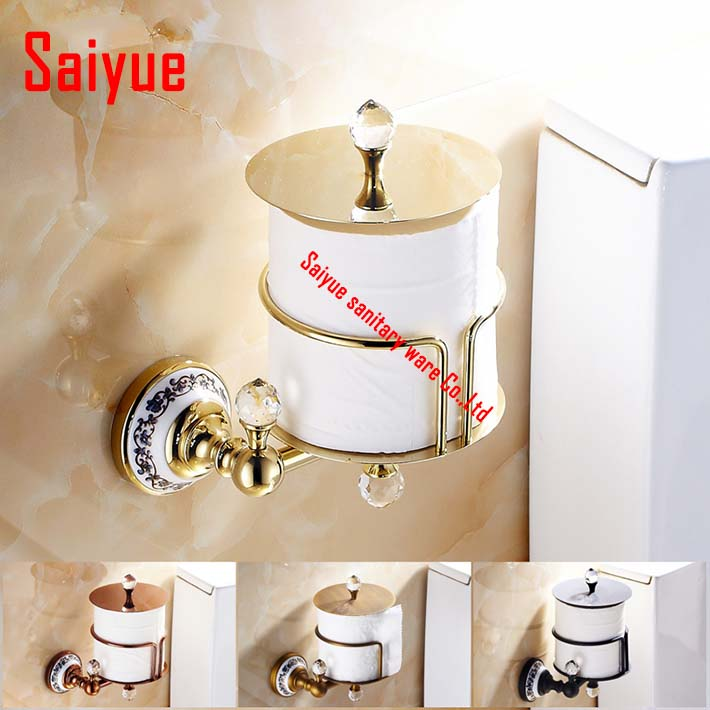 Crystal  oil rubbed bronze rose gold antique Brass Upright Toilet Paper Holder Roll Tissue Bracket porta rollo papel higienico nervilamp 710 2a gold bronze