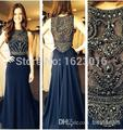 2017 Vestidos De Fiesta A Linha de Gola Alta Azul Marinho Chiffon Frisada Longos Vestidos de Noite Vestidos de Noite do Baile de Finalistas Vestido do baile de Finalistas