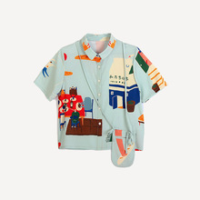 Harajuku New Summer Women's Chiffon Blouse Cute  Naughty Pattern Printing Oversize Turn-down Collar Short Sleeve Ladies Shirts