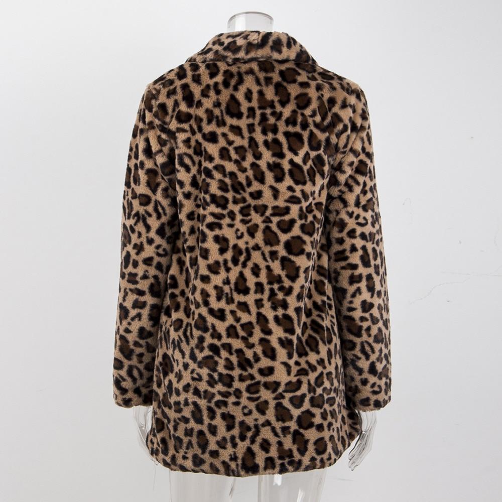 a2596dd4369ed Elegant Leopard Faux Fur rabbit fur coat Women Autumn Plus Cashmere Warm  Coat Female Winter Cardigan Outwear Fake Fur Jacket-in Faux Fur from Women s  ...