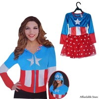 Halloween COS Skirt Costume Adult American Captain Female Sweater American Captain Child Dress