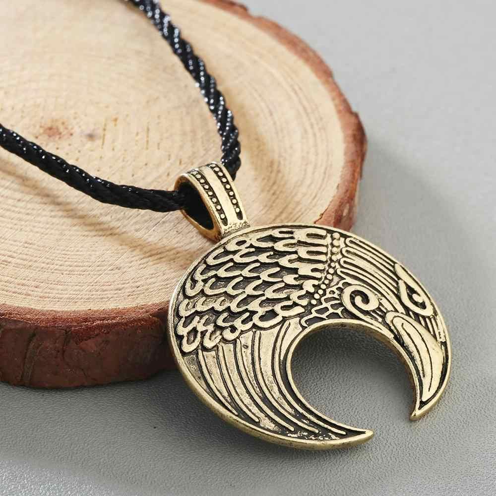 Chereda Eslavo Norse Viking Lúnula Corvo Pingente Águia Cabeças Lua Colares Pingentes Jóias Presente Cadeia de Corda Do Vintage