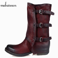 Mabaiwan New Vintage Wine Red Genuine Leather Women Boots Flat Heel Shoes Autumn Winter Snow Boots Militares Motorcycle Boots